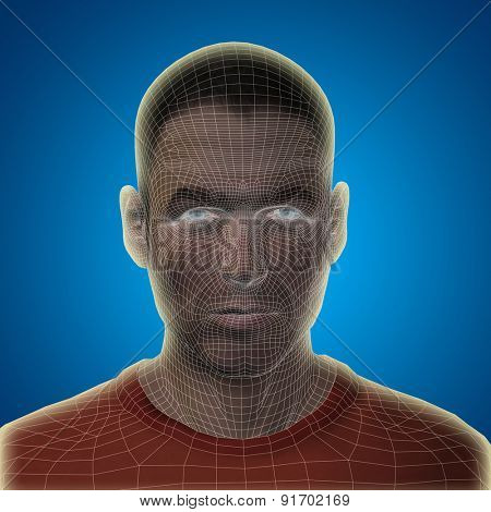Concept or conceptual 3D wireframe young human male or man face or head on blue gradient background