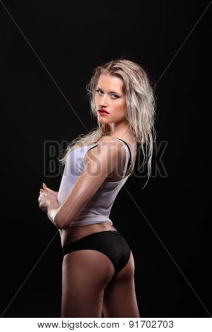 Young Sexy Woman Posed Wet. Water Studio Photo.