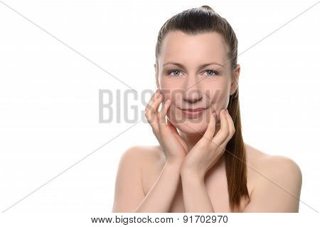 Woman Touching Face With Hands