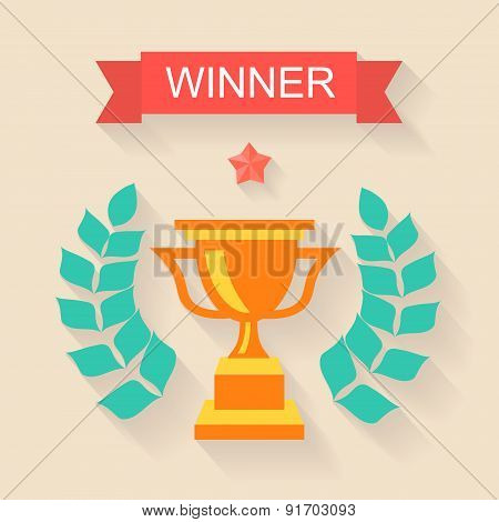 Trophy winner Ribbon in flat design
