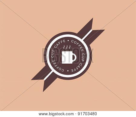 Abstract coffee logo design elements. Arrows, labels, ribbons, symbols. Vector illustration