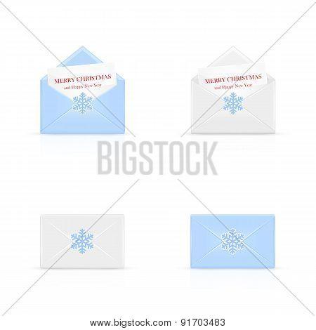 Set Of Christmas Envelopes With Snowflake
