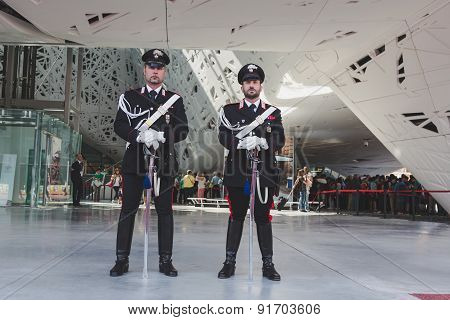 Carabinieri Outside Italy Pavilion At Expo 2015 In Milan, Italy