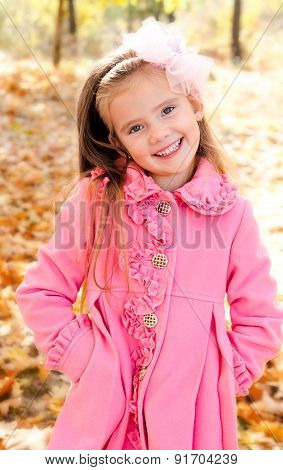 Autumn Portraite Of Little Girl