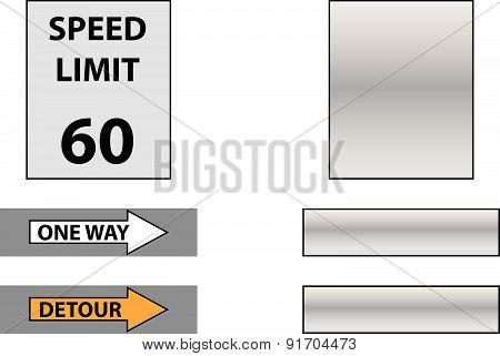 speed limit, detour and one way sign with empty table
