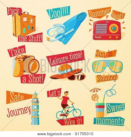 Set of cute bright summer icons with typographic elements. Suitcase, flippers, swimming mask, radio,