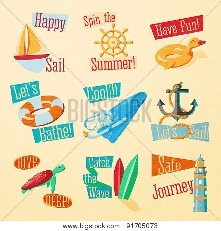 Set of cute bright summer icons with typographic elements. Yacht, wheel, rubber duck, lifebuoy, flip
