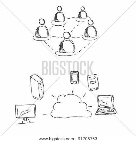 Cloud, computing, conception, sketch