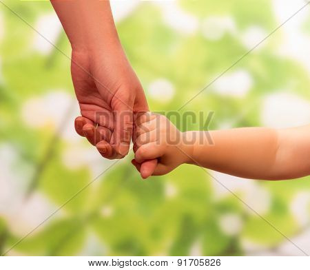 Male hand leading child