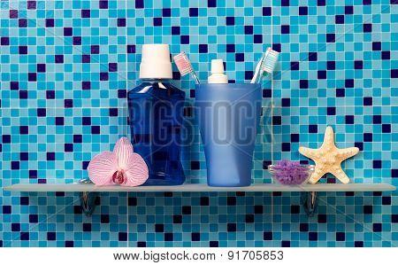 Bath accessories on blue