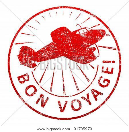 Bon Voyage - Rubber Stamp With A Airplane And Rays In A Grunge Style. Vector Illustration For Your D