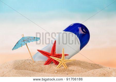 Antiperspirant, starfishes and umbrella