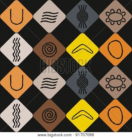 Seamless background with symbols of Australian aboriginal art