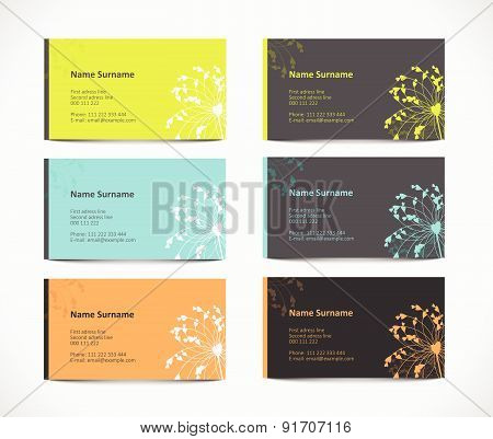 set of visiting card with floral element