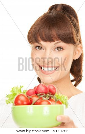 Beautiful Housewife With Vegetables