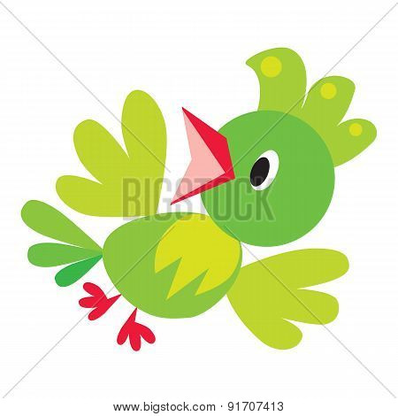 Children vector illustration of funny bird or parrot