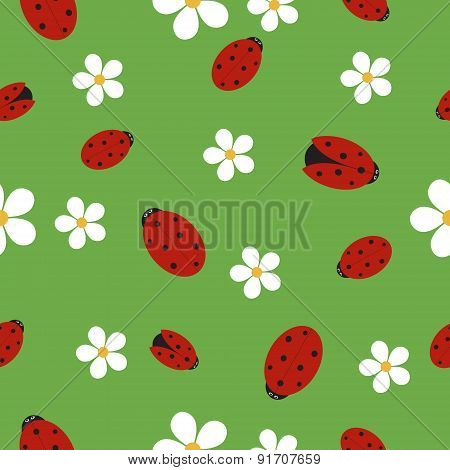 Seamless Texture With Ladybugs On Green Grass