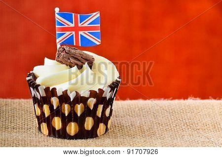 Chocolate Flake Cupcake With Union Jack Flag.