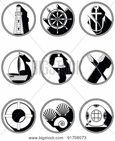 Nautical Elements I Icons In Knotet Circle In Black And White