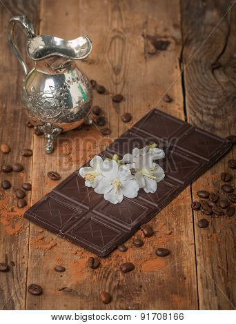 Milk Chocolate With White Flowers