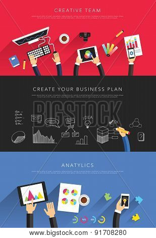 flat business templates vector