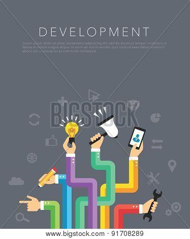 flat development template vector