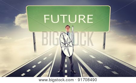 Corporate warrior against signpost showing the direction of the future