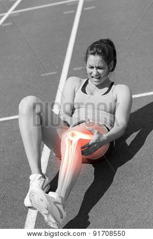 Digital composite of Highlighted bones of injured runner