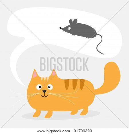 Cute Cartoon Red Cat And Talk Think Bubble With Mouse. Card. Kids Background Flat Design