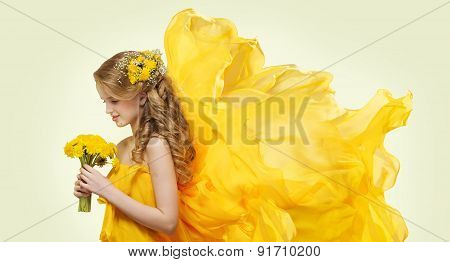 Young Girl Portrait With Yellow Flowers Dandelion Bouquet, Fashion Model Flying Fabric