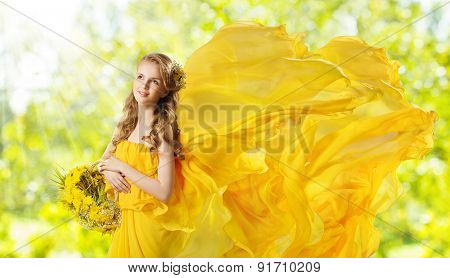 Young Girl With Yellow Flowers Dandelion Basket, Fashion Model Posing