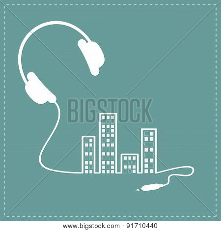 Headphones Cord Equalizer Building House With Swith On Light Windows Music Background Card. Outline