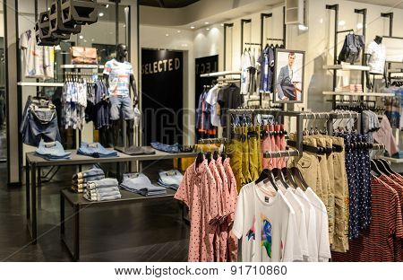 SHENZHEN, CHINA - MAY 25, 2015: shopping center interior. Shenzhen is a major city of Southern China's Guangdong Province, situated immediately north of Hong Kong Special Administrative Region.