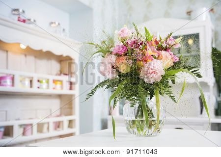 Flowers In The Vase Prepared For The First Date Present