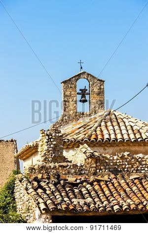close up of chapel in Ajonc, Provence, France