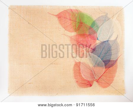 sackcloth burlap background with leaves on cloth texture