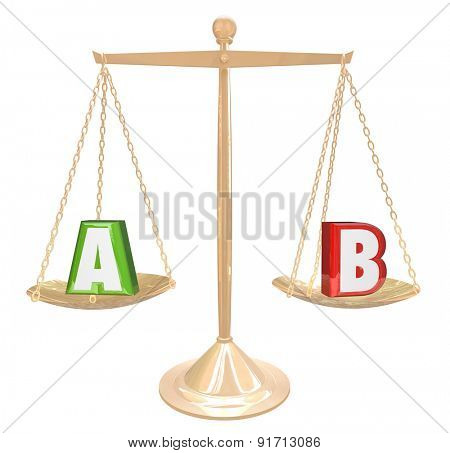 A B Testing Letters on Gold scale or balance to illustrate comparing options or choices to determine best answer