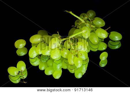 Green Grapes On Black