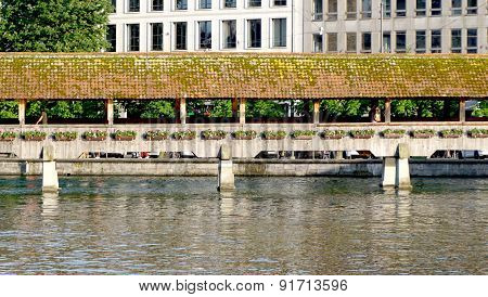 Close Up Historical Wooden Chapel Bridge In Lucerne