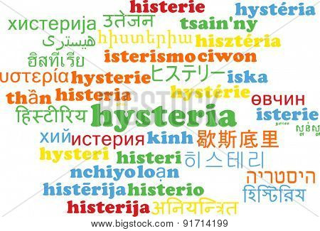 Background concept wordcloud multilanguage international many language illustration of hysteria