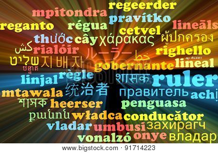 Background concept wordcloud multilanguage international many language illustration of ruler glowing light