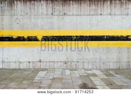 Aged parking lot wall