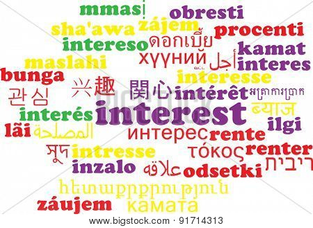 Background concept wordcloud multilanguage international many language illustration of interest
