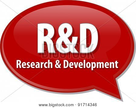 word speech bubble illustration of business acronym term R&D