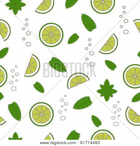 Cocktail Mojito Seamless Pattern. Vector Illustration. Hand Drawn Illustration.