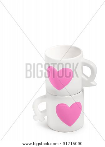 Cute Couple Ceramic Cups. On White Clear Isolated Background, Pink Heart, Male And Female Symbol Des