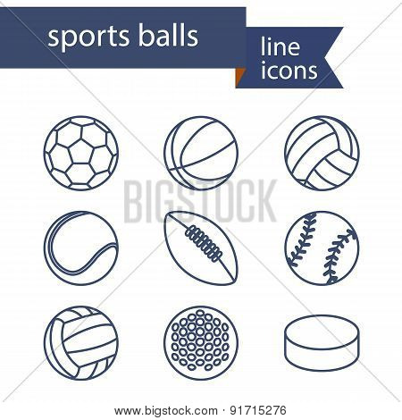 Set of line icons of sport balls.