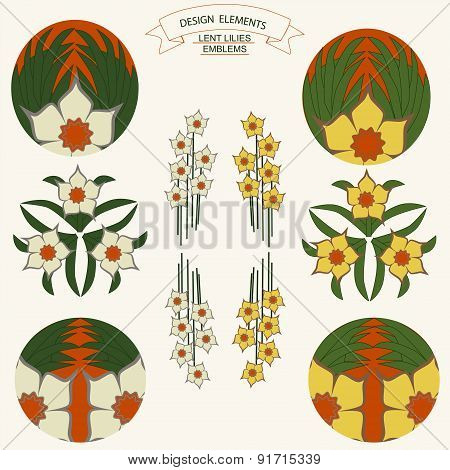 Desigen Elements Lent Lilies Emblems
