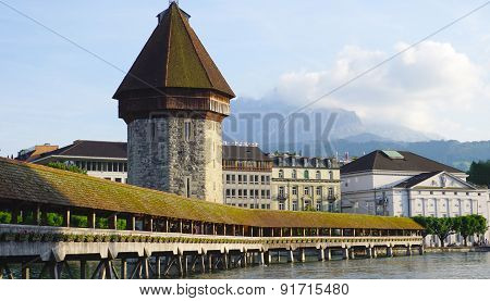 View Of Historical Wooden Chapel Bridge In Lucerne