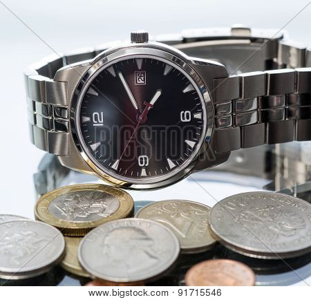 Wrist Watch. Coin.